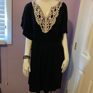 Alyx Short Dress Black with Cream Crochet Lace XL